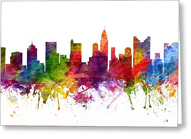 Columbus Ohio Greeting Cards - Columbus Cityscape 06 Greeting Card by Aged Pixel