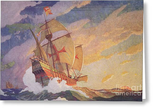 Bateau Greeting Cards - Columbus Crossing the Atlantic Greeting Card by Newell Convers Wyeth