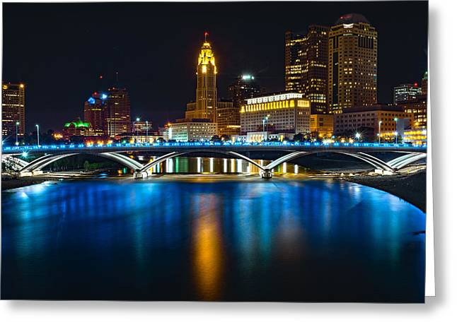 In-city Pyrography Greeting Cards - Columbus Ohio at Night Greeting Card by John Nixon