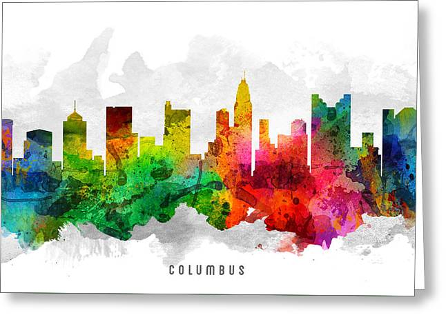Columbus Ohio Greeting Cards - Columbus Ohio Cityscape 12 Greeting Card by Aged Pixel