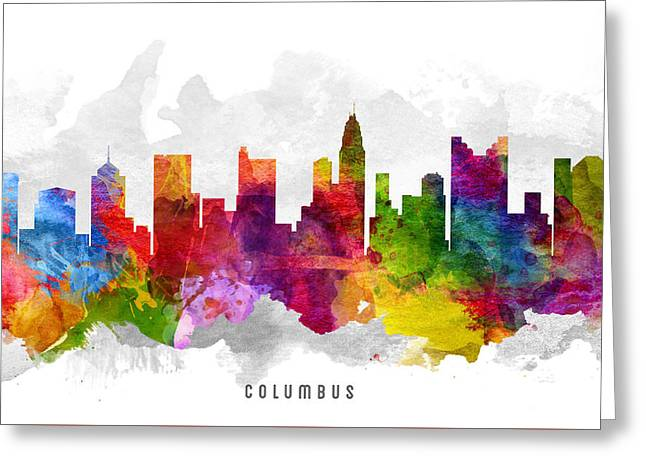 Columbus Ohio Cityscape 13 Greeting Card by Aged Pixel