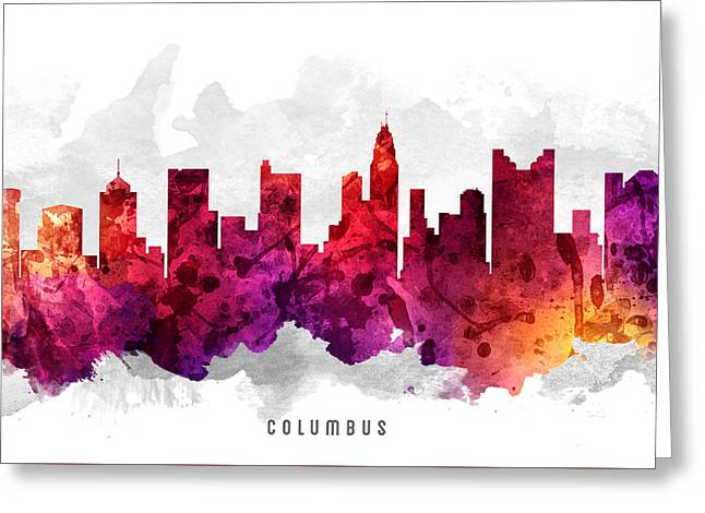 Columbus Ohio Greeting Cards - Columbus Ohio Cityscape 14 Greeting Card by Aged Pixel