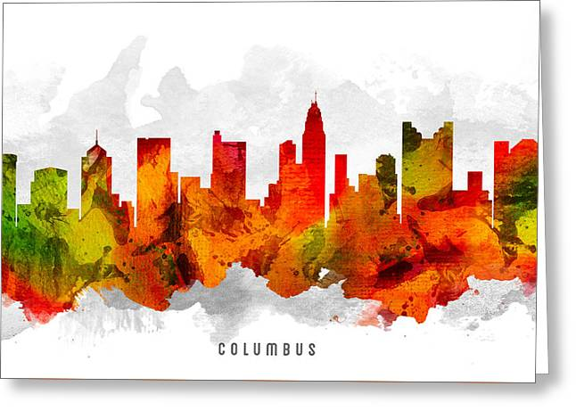 Columbus Ohio Cityscape 15 Greeting Card by Aged Pixel