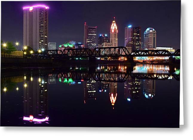 Reflecting Water Greeting Cards - Columbus Ohio Nightscape Greeting Card by Frozen in Time Fine Art Photography