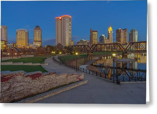 Columbus Ohio Skyline At Dusk Greeting Card by Scott McGuire