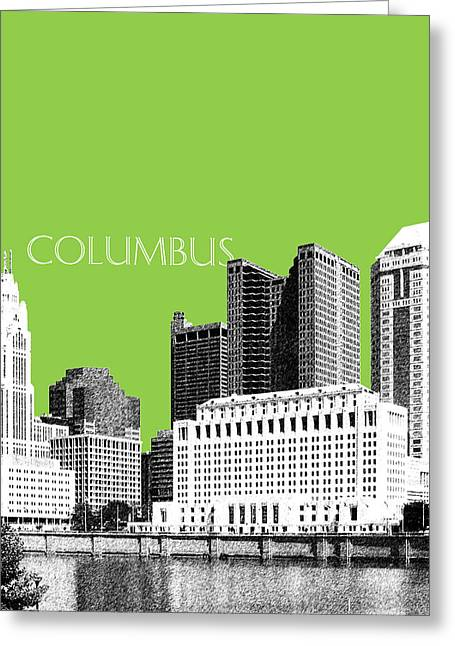 Columbus Ohio Skyline - Olive Greeting Card by DB Artist
