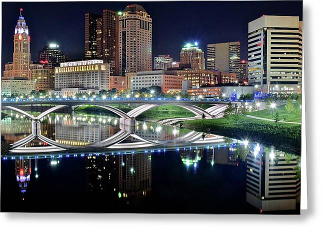 Columbus Over The Scioto Greeting Card by Frozen in Time Fine Art Photography