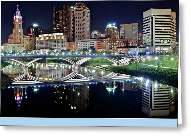 Buckeye Greeting Cards - Columbus over the Scioto Greeting Card by Frozen in Time Fine Art Photography