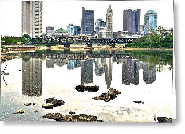 Gray Scale Greeting Cards - Columbus Reflecting in the Scioto Greeting Card by Frozen in Time Fine Art Photography