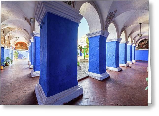 Columns In Santa Catalina Monastery Greeting Card by Jess Kraft