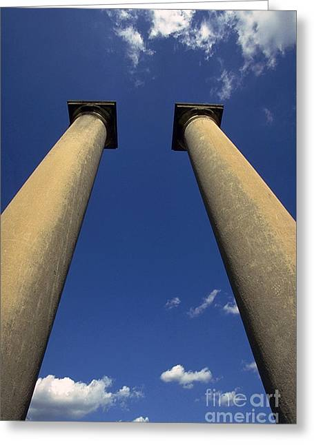 Pairs Greeting Cards - Columns In The Sky Greeting Card by JS Stewart