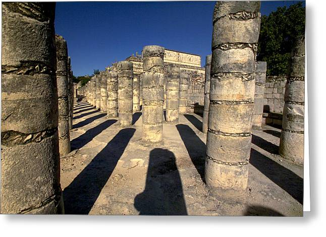 Pre Columbian Architecture And Art Greeting Cards - Columns with shadows at Greeting Card by Raul Touzon