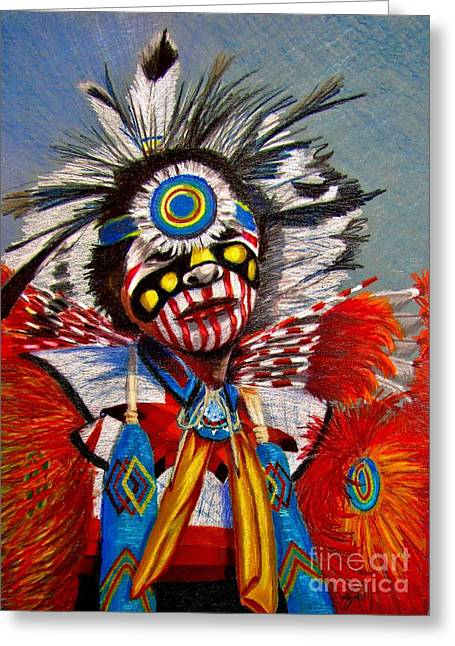 Pueblo Drawings Greeting Cards - Comanche Dance Greeting Card by Marilyn Smith