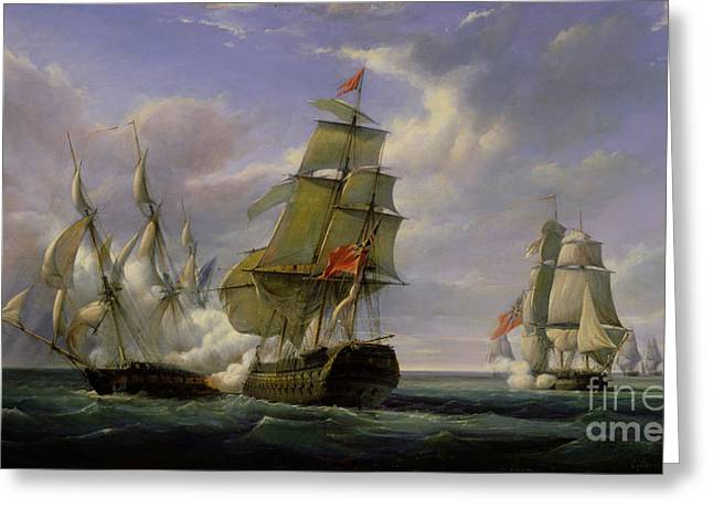 Sailing Ship Greeting Cards - Combat between the French Frigate La Canonniere and the English Vessel The Tremendous Greeting Card by Pierre Julien Gilbert