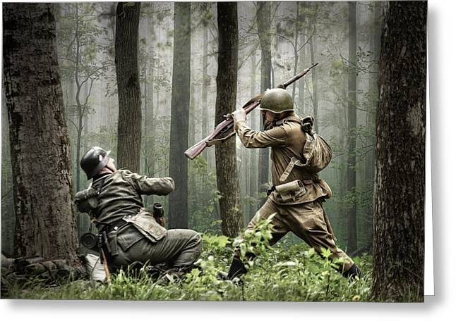Army Photographs Greeting Cards - Combat Greeting Card by Dmitry Laudin