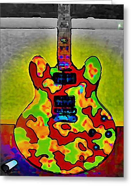 Combat Guitar Greeting Card by Gregory McLaughlin
