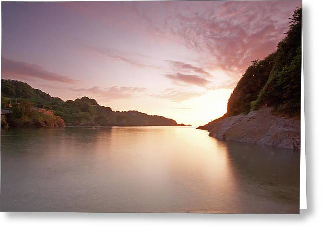 Summer Squall Greeting Cards - Combe Martin Sunset Greeting Card by Michael Stretton