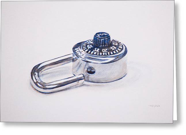 Combination Lock Greeting Card by Christopher Reid