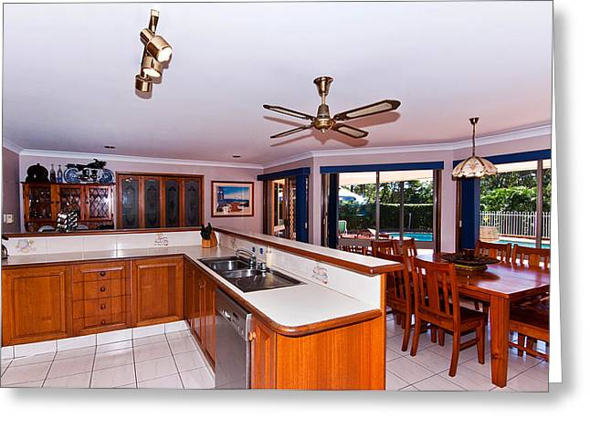 Sliding Glass Door Greeting Cards - Combined Kitchen and Dining Greeting Card by Darren Burton
