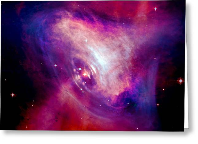 Crab Nebula Greeting Cards - Combined X-Ray and Optical Images of the Crab Nebula Greeting Card by Nicholas Burningham