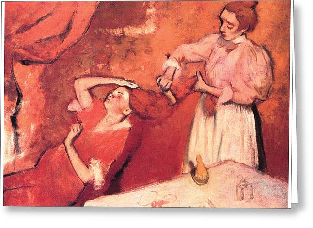 Combing Greeting Cards - Combing the Hair Greeting Card by Edgar Degas