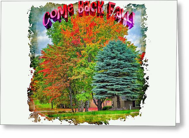 Apparel Greeting Cards - Come Back Fall Greeting Card by John Bailey