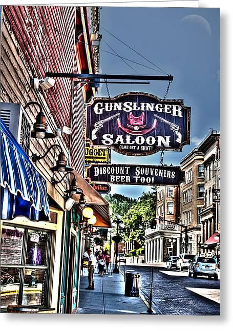 Come Get A Shot At The Gunslinger Saloon Greeting Card by Deborah Klubertanz