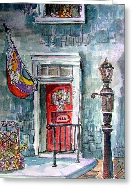 Lamp Post Mixed Media Greeting Cards - Come In Greeting Card by Mindy Newman