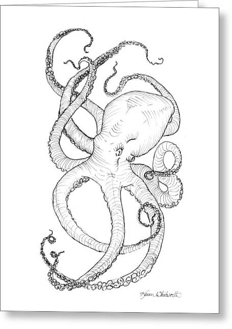 Invertebrates Greeting Cards - Come Let Me Give You A Hug Octopus Drawing Greeting Card by Karen Whitworth