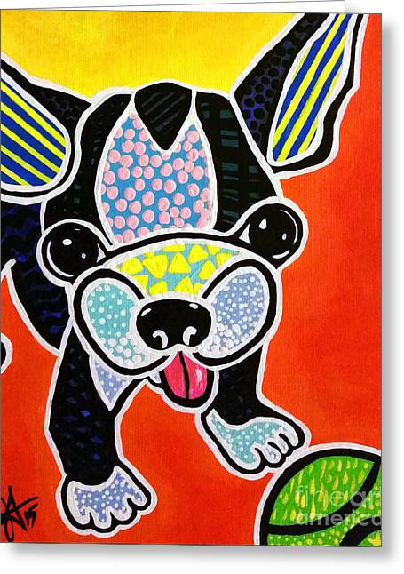 Dog With Tennis Ball Greeting Cards - Come Play  Greeting Card by Jackie Carpenter