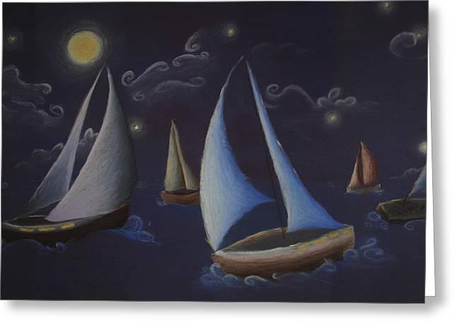 Sailing Boat Pastels Greeting Cards - Come Sail Away Greeting Card by Amanda Clark