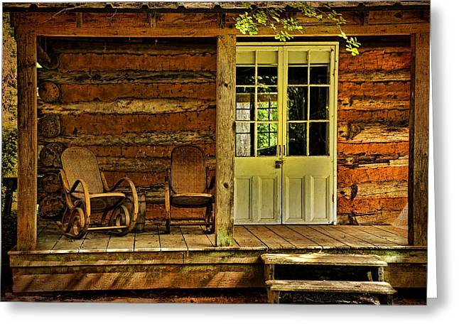 Log Cabins Greeting Cards - Come Sit A Spell Greeting Card by Judy Vincent