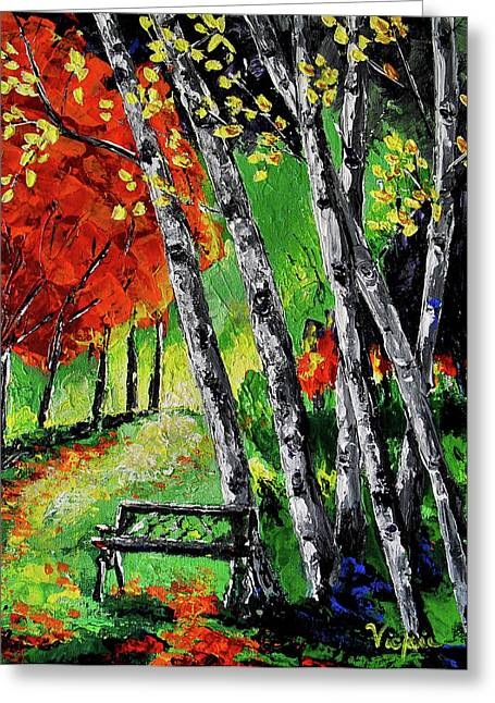 Birch Tree Mixed Media Greeting Cards - Come Sit with Me Greeting Card by Vickie Warner