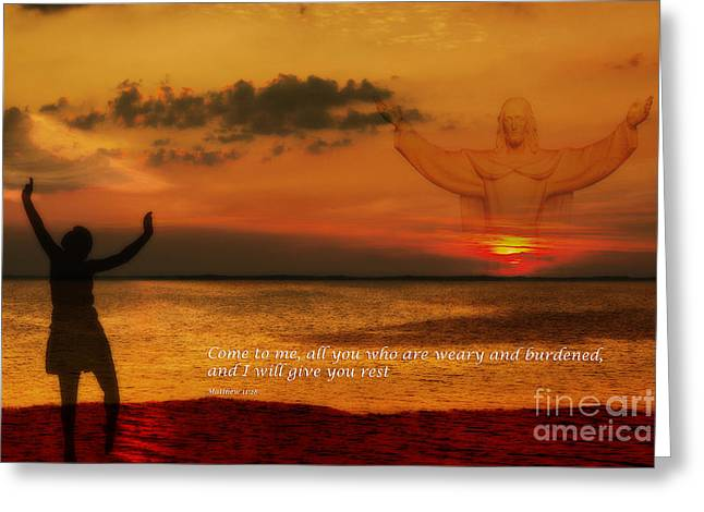 Will Power Digital Art Greeting Cards - Come to me all you who are weary Greeting Card by Randy Steele