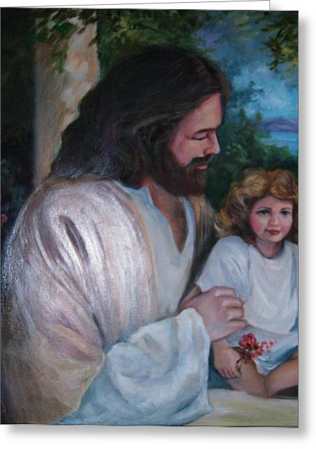 Abba Father Greeting Cards - Come To Me Little Children Greeting Card by Judy Groves