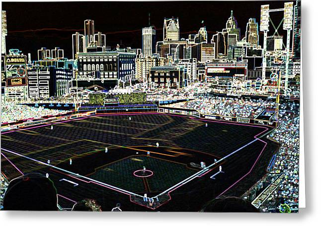 Detroit Tigers Digital Greeting Cards - Comerica Park Detroit Greeting Card by Glen W Ferguson