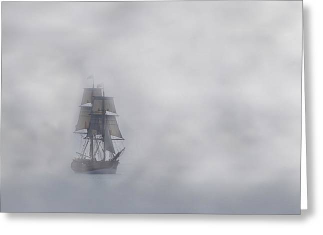 Tall Ships Greeting Cards - Comes A Ghost Greeting Card by Mark Alder