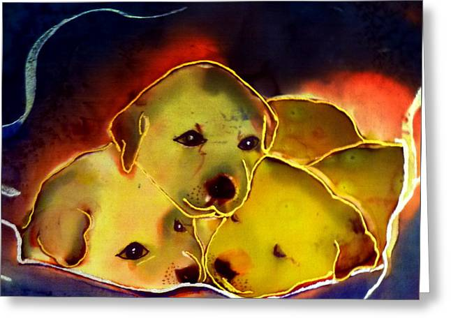 Puppies Tapestries - Textiles Greeting Cards - Comfort Greeting Card by Beverly Johnson