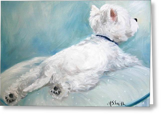 Westie Art Greeting Cards - Comfort Zone Greeting Card by Mary Sparrow