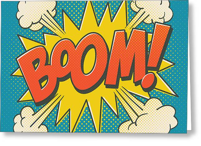 Comic Boom On Blue Greeting Card by Mitch Frey