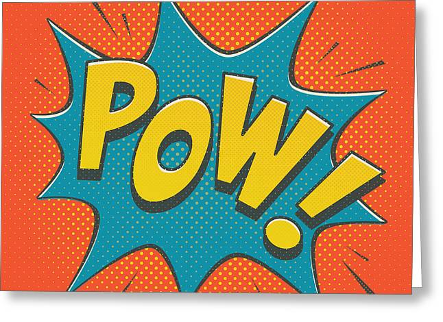 Cartoon Greeting Cards - Comic Pow Greeting Card by Mitch Frey