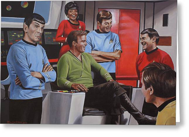 Trekkie Greeting Cards - Comic Relief Greeting Card by Kim Lockman