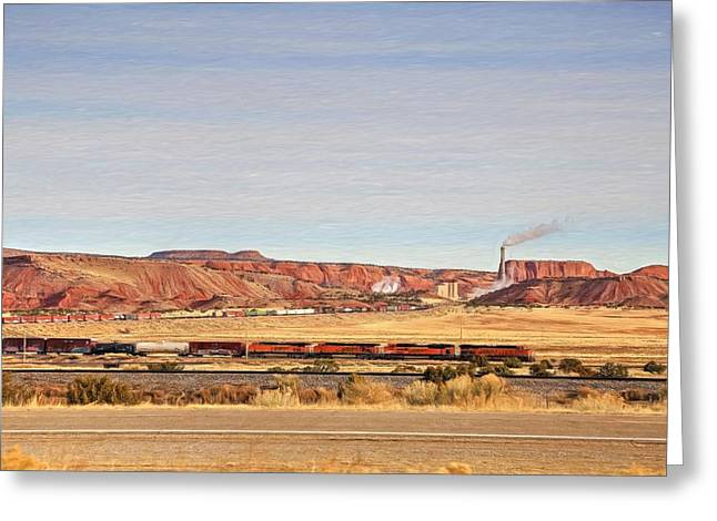 Bnsf Greeting Cards - Comin Round the Bend Greeting Card by Donna Kennedy