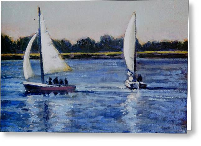 Sailboats In Harbor Greeting Cards - Coming about Greeting Card by David Zimmerman