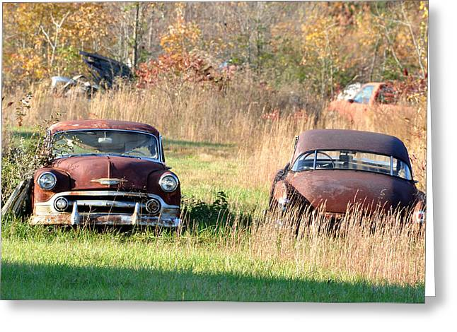 Rusted Cars Greeting Cards - Coming and Going Greeting Card by Jan Amiss Photography