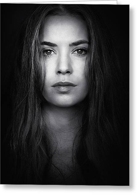 Model Photographs Greeting Cards - Coming From The Dark Greeting Card by Massimiliano Peluso