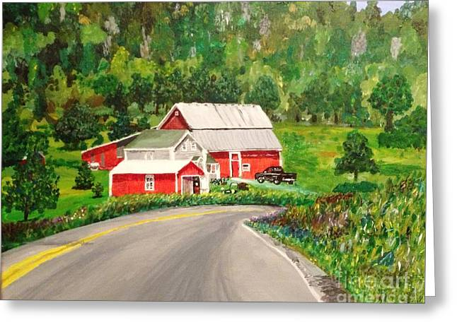 Red Roofed Barn Greeting Cards - Coming Home Greeting Card by Corry Leblanc