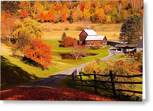 Coming Home In A Vermont Autumn Greeting Card by Jeff Folger