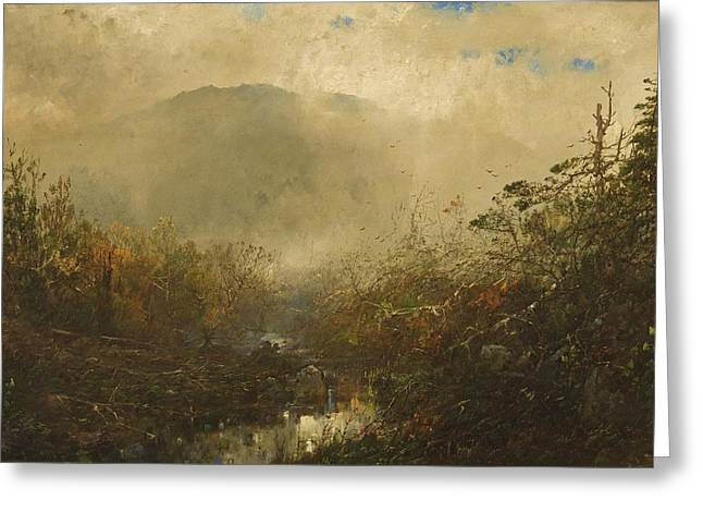 Ominous Greeting Cards - Coming Storm in the Adirondacks Greeting Card by William Sonntag