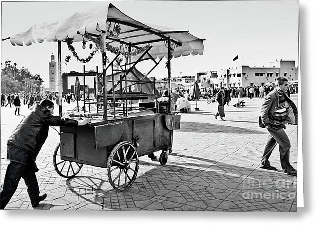Food Stall Greeting Cards - Coming through... Greeting Card by Marion Galt
